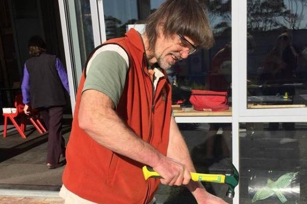 Guide Andrew Hingston making a pardalote nest box