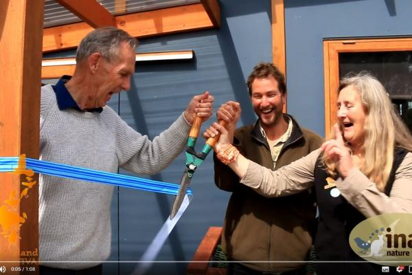 The opening of the photography hide - October 2018 - Bob Brown, Chris Tzaros, Tonia Cochran