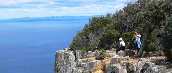 US students getting a different perspective on Bruny Island, from Cape Raoul.