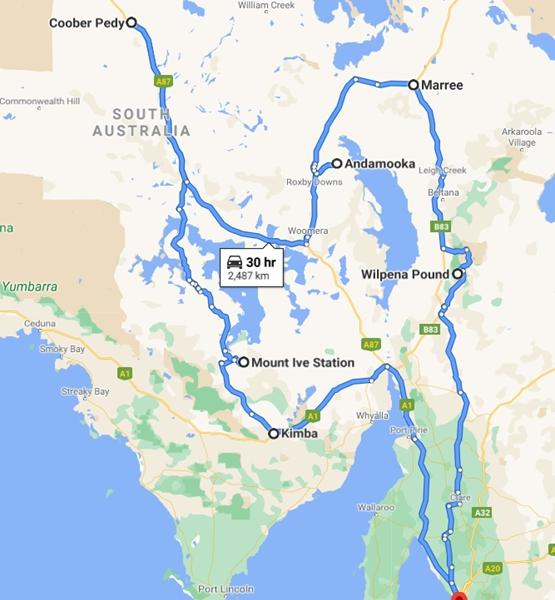 Map of South Australia Outback Tour 2022