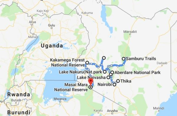 Map enlargement of tour area in Kenya