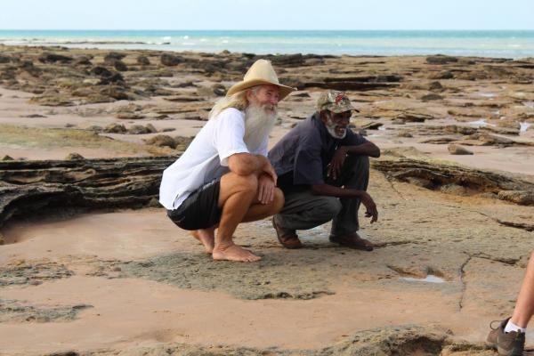 Greg Quicke and Richard Hunter with Therapod Track - Dinosaur Coastal Management Group