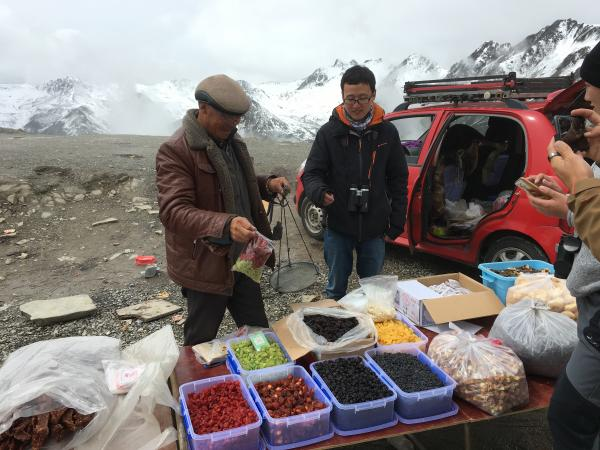 Buying dried fruit at Balang Pass - Tonia Cochran - China Sichuan - Inala Nature Tours